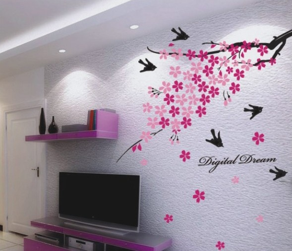 Decal Dzine Wall Decor Flower Branch With Birds Add Oodles Of Style To Your Home An Exciting Range Designer Furniture Furnishings