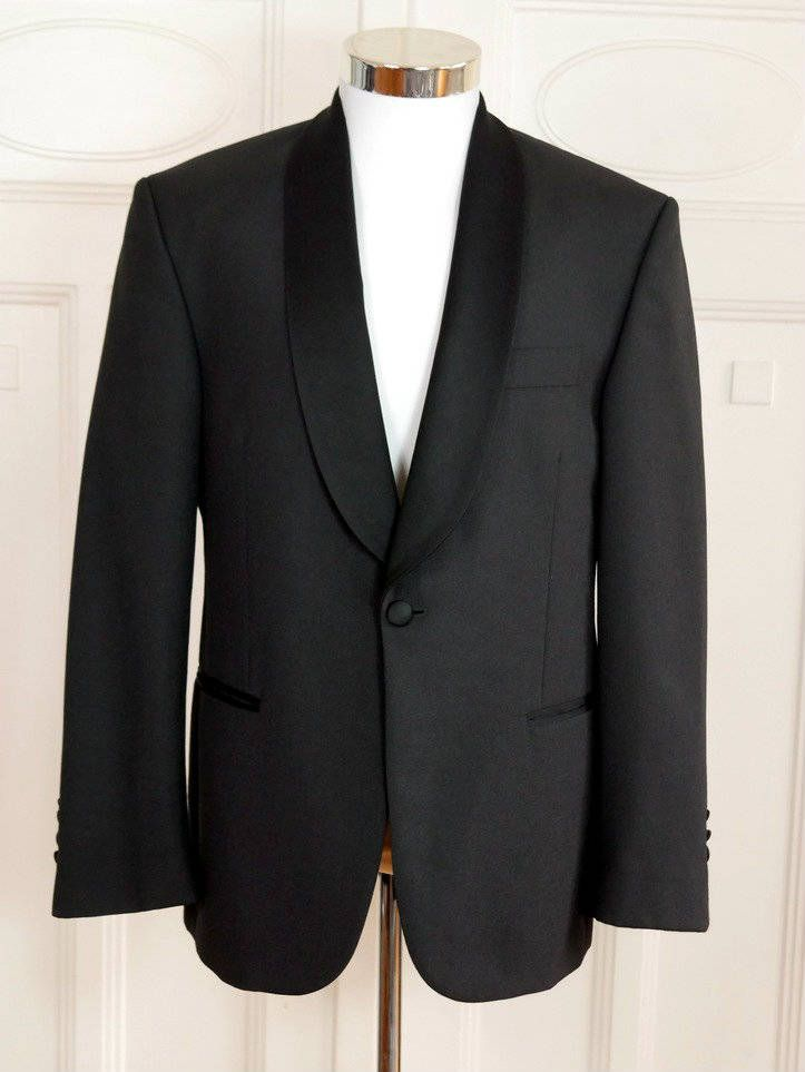 Vintage Tuxedo Jacket, Black Dinner Jacket w Satin Shawl Lapel, Swedish 1990s Black Smoking Jacket, European Tux Blazer: Size 38 (US, UK) by YouLookAmazing on Etsy