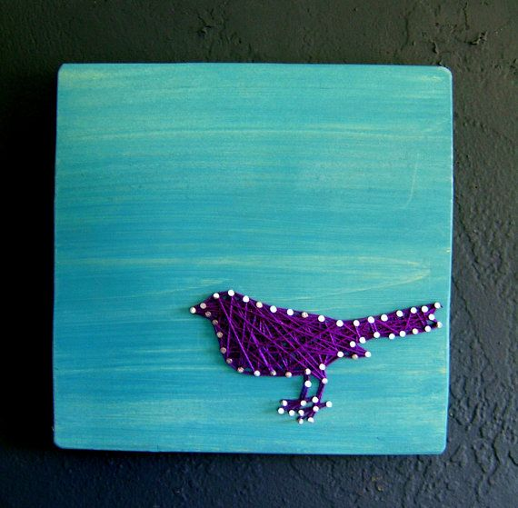 String Art! It's BACK!     Modern String Art Wooden Tablet - Purple Bird on Teal Wash. $25.00, via Etsy.
