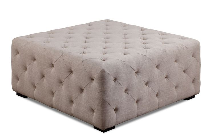 Large Ottoman in Cream Linen - RUGS & FURNITURE WAREHOUSE
