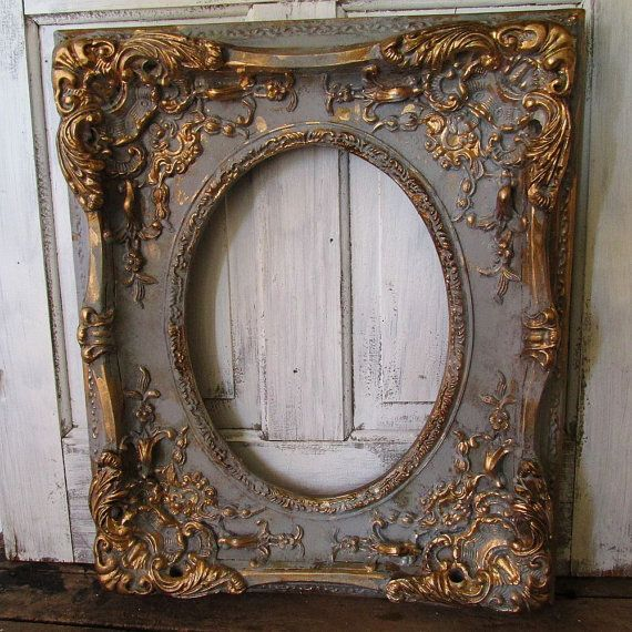 Large ornate picture frame wood w/ gesso antique French farmhouse distressed gray and gold wall hanging home decor anita spero design