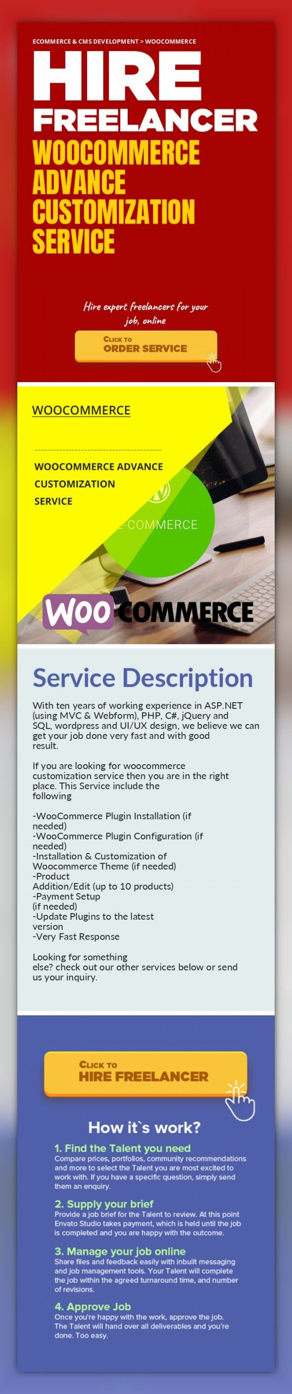 WooCommerce Advance Customization Service Ecommerce & CMS Development, WooCommerce   With ten years of working experience in ASP.NET (using MVC & Webform), PHP, C#, jQuery and SQL, wordpress and UI/UX design, we believe we can get your job done very fast and with good result.    If you are looking for woocommerce customization service then you are in the right place. This Service include the f...