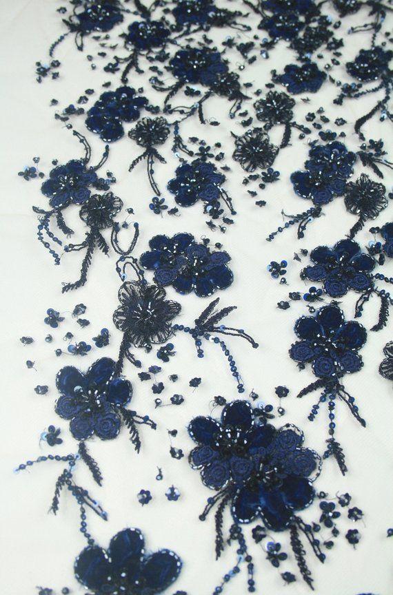 A pair blue beaded floral lace applique blue sequins floral tulle lace motif