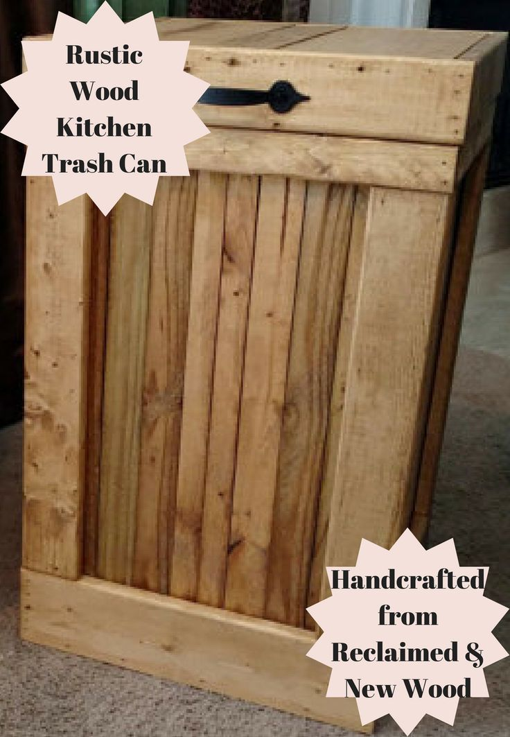 We make 2 different sizes of this Rustic Wood Kitchen Trash Can, our 13 gallons hold the 13-gallon white kitchen drawstring trash bags and are 14.5 inches x 14.5 inches wide and 24 inches tall #ad #home #decor #rustic #wooden #trashcan