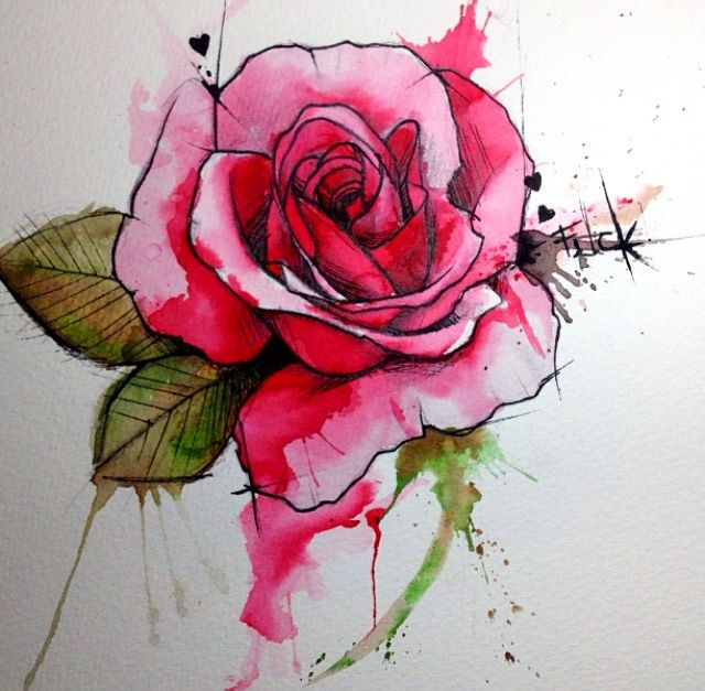 Gorgeous Ways To Incorporate Scandinavian Designs Into: Rose Watercolor Tattoo - Victoroctaviano