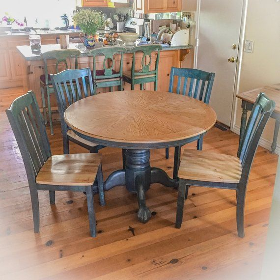 Farmhouse Table Extendable Dining Table Blue Kitchen Table Shabby Chic Dining Table Round Dining Table Farm Table Painted Furniture Shabby Chic Dining Tables Shabby Chic Kitchen Table Shabby Chic Dining