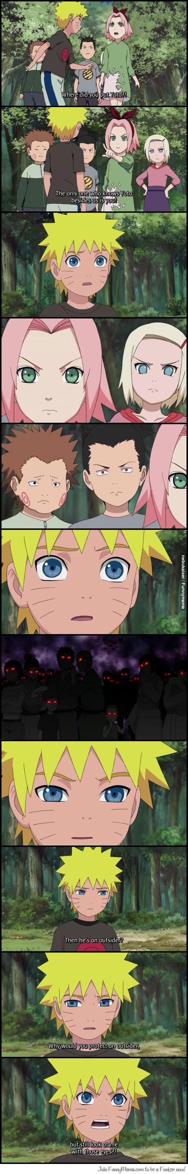 Naruto ~~ This is so sad!!! And what really gets me is how Choji is the only one not looking at him maliciously...
