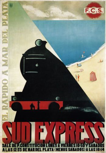 TX95-Vintage-Sud-Express-Mar-Del-Plata-Railway-Travel-Poster-Re-print-A2-A3 #vintagetravelposters