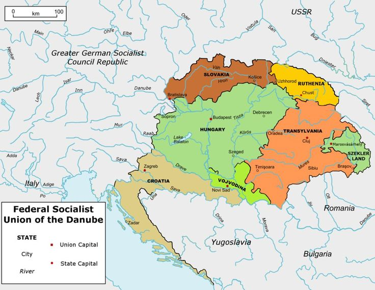Map of the Federal Socialist Union of the Danube, the socialist successor to the United States of Greater Hungary. Credits: Elements taken from wikimedia commons.