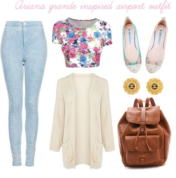 Light washed jeans, floral crop top, flats, coco channel earrings, sweater cardigan and leather bag. So cute!