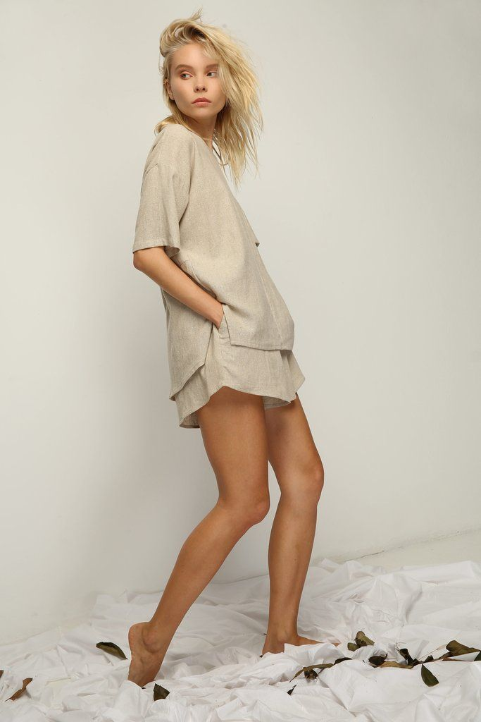 oversized linen tshirt and shorts