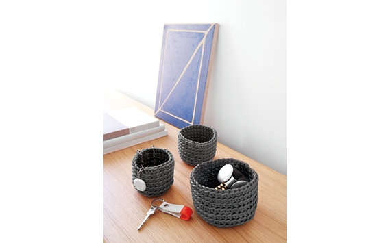 Crocheted Rubber Basket, Medium