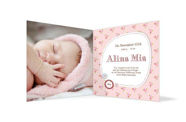 Geburtskarte Alina - Rosa und mit viel Platz für das Bild Ihres Babys! Jetzt gestalten: