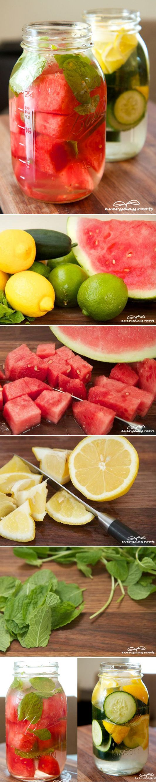 Make Your Own Detox Drink for Daily Enjoyment & Cleansing. Recipe. Included: Watermelon/cucumber, lemon/lime, mint leaves, and water