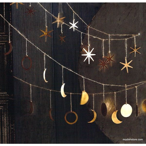 Roost Phases of the Moon Garland is a beautiful, hand-crafted conversation piece. Waxing, waning. new and full moons are rendered in hand-cut solid brass sheet.