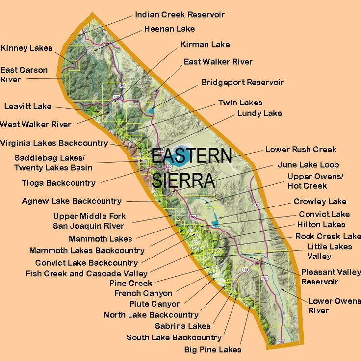 Eastern sierra lakes map eastern sierra nevada camping for Eastern sierra fishing