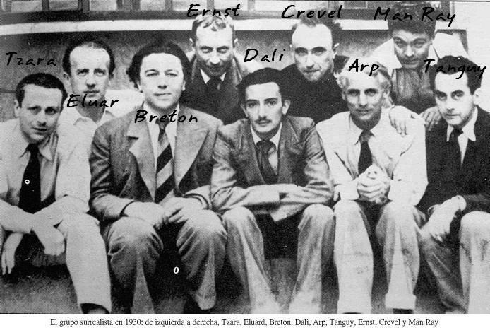 Tristan Tzara, Andre Breton, Max Ernst, Salvador Dali