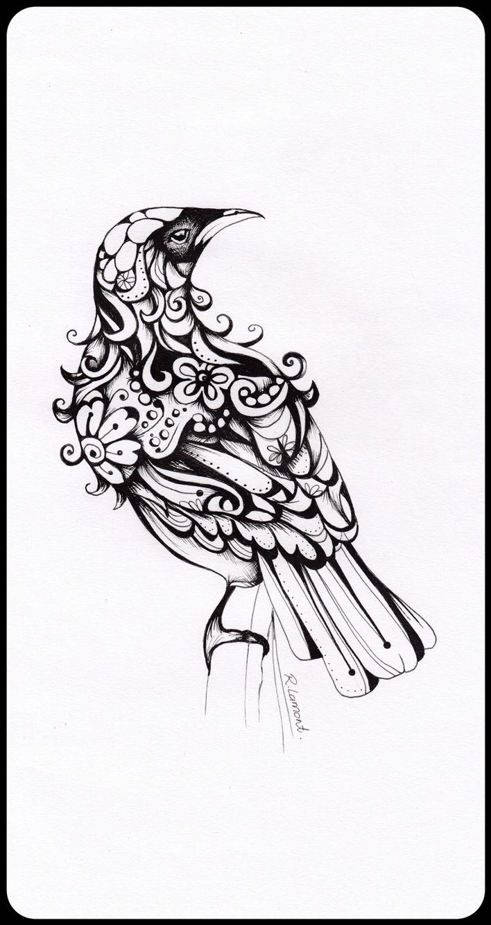 Inked Tui Illustration   Robyn Lamont   New Zealand Artist