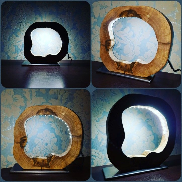 Walnut wood LED lamp, handmade from the beggining to the end :)