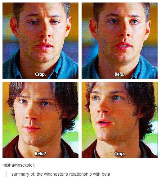 Summary of the Winchester's relationship with Bela. Click on link for GIF http://mishawinsexster.tumblr.com/post/55633602114/summary-of-the-winchesters-relationship-with