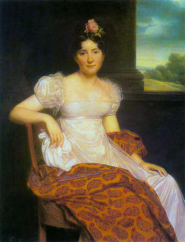 Portrait of Joséphina Fridrix wearing a Kashmir Paisley Shawl – (Riesner) 1813.