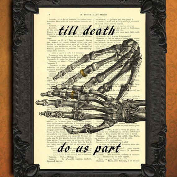 till death do us part - wedding gift - forever love wedding ring digital prints - dictionary art wedding present - anatomical hand print