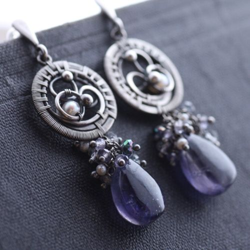 Tempest Earrings - Wire wrapping technique, fine silver, sterling silver, white pearls, iolite by mgypsy.