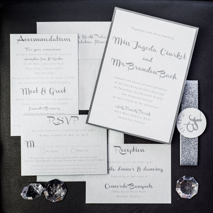 Silver charcoal wedding invitations. Silver and Charcoal wedding invitations. Silver wedding invitations. Modern wedding invitations. Glitter invitations.