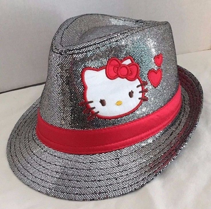 Girls Hello Kitty Fedora Silver Gray Sequin with Hot Pink Band Hat One Size #HelloKitty #FedoraTrilby