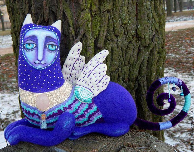 Купить Страж Границы Миров - фиолетовый, кукла ручной работы, волшебные существа, котик