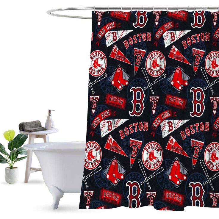 Boston Red Sox Pattern Style Shower Curtain 100 Polyester