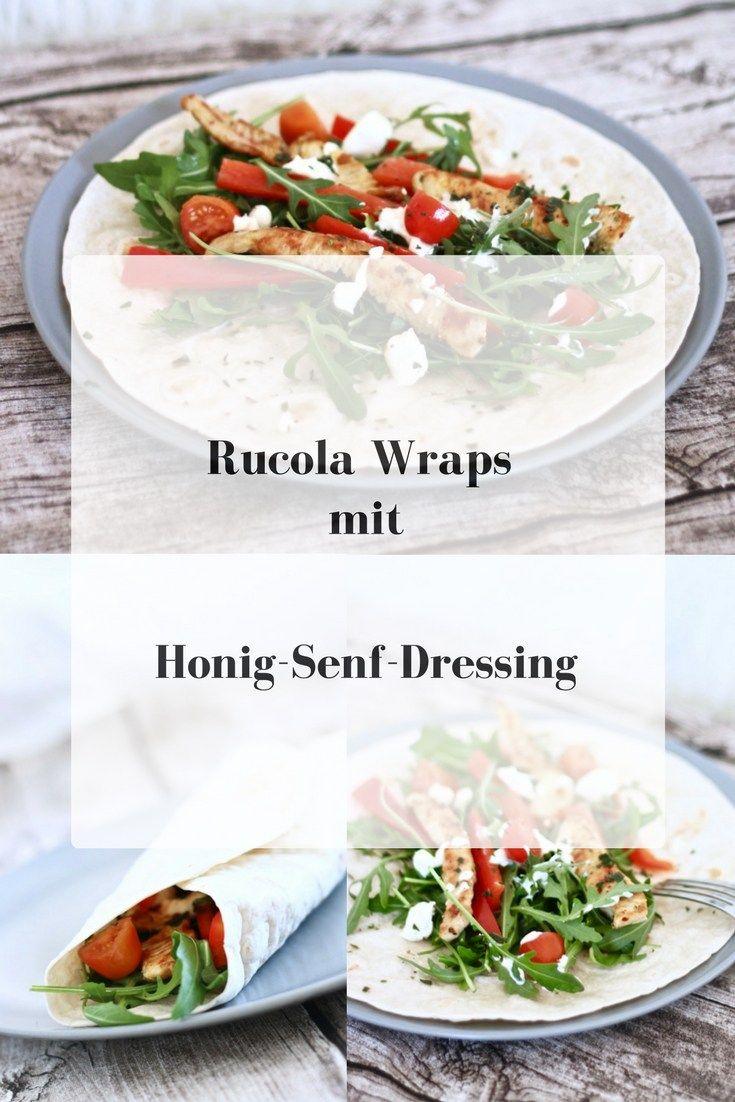 Rucola-Wraps mit Honig-Senf-Dressing