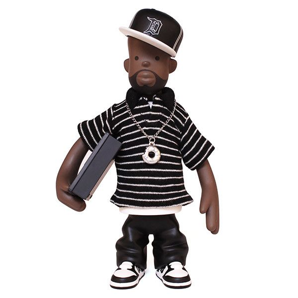 The J Dilla Figure is an official Pay Jay Productions release, produced under the oversight of the Estate of James Yancey. The Figure was conceived and rendered by Detroit artist Sintex, designed and