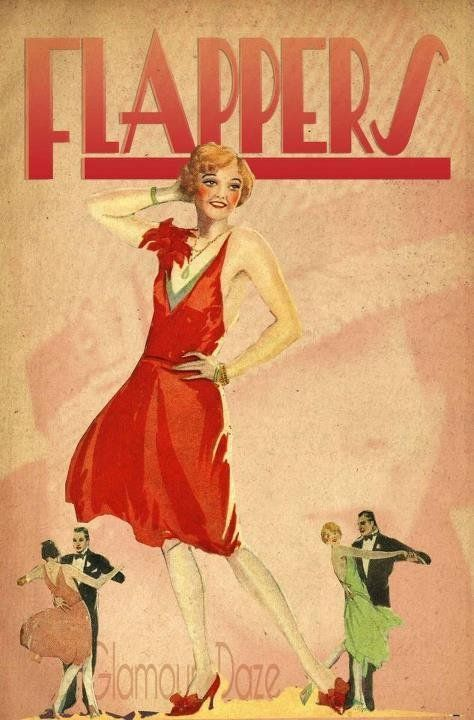 A vintage Jazz Age poster! Click here to learn more about Flappers in American history!                                                                                                                                                                                 More