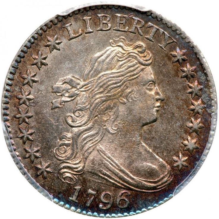 1796 Draped Bust Dime. PCGS MS63 Lovely blue and golden obverse toning. Frosty white on the reverse. Only 22,135 minted. A scarcer die pairing from this highly collectible premier issue, estimated to be about 10 percent of the present number of 1796 Dimes. It is one of the best struck die marriages for the year and can be identified by the tips of leaves being aligned with the edges of the A in STATES and the F in OF. Additionally, the TY in LIBERTY is joined at the top of the letters. An especially colorful lustrous Mint State 63, we might almost say that it is a benchmark for other examples that share this choice grade. While the strike is bold and crisp, it is not quite full, but only on the eagle's chest feathers, elsewhere the design features are exceedingly sharp. None of the head or drapery details are left to the viewer's imagination, for instance. A word of caution here: hesitant bidders will promptly be left out in the cold when this attractive Draped Bust, Small Eagle classic hits the auction block. The dime has long been an indispensable part of the United States decimal monetary system, although it was one of the last coins issued by the Mint when operations first began in 1793. By the time it arrived in 1796, as the Draped Bust/Small Eagle type, the Mint had already been striking copper cents and half cents for three years; silver dollars, half dollars and half dimes for two years; and two gold coins -- the eagle and half eagle -- for a year. The only other coins delayed, like the dime, until 1796, were the quarter dollar and quarter eagle. The Draped Bust/Small Eagle design by Mint Chief Engraver Robert Scot features a rather fully formed portrait of Liberty, her fluid hair tamed somewhat by a ribbon and her bust covered with drapery, encircled by stars at the sides. The inscription LIBERTY appears above and the date below. The reverse depicts a small, spread-winged eagle perched upon clouds and surrounded by palm and olive branches. Encircling this i