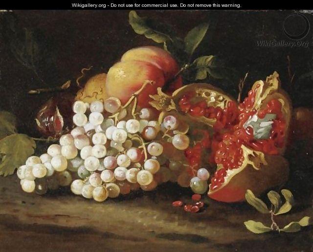 Brueghel - Still Life cu struguri, rodie și piersici