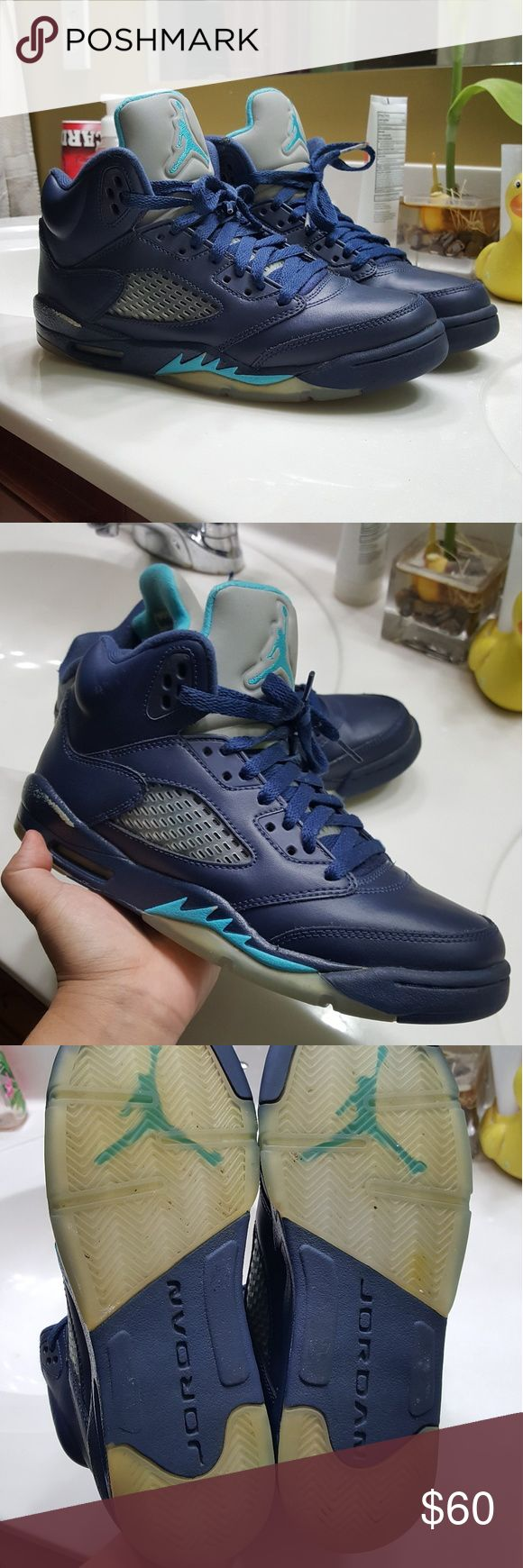 Nike air Jordan retro 5 hornets 100% authentic and size 6y.  The shoe is in amazing condition. The only flaw is a that a little paint was rubbed off on one of the shoes, but thats all. If any you have questions, please message me.   I try to ship as fast as the next day. However, it might take a bit because I schedule a USPS pick up so that packages are picked up safely. But is Usually done the day of purchase.  Lebron kd kyrie kobe 1 2 3 4 5 6 7 8 9 10 11 12 Air Jordan Shoes Sneakers