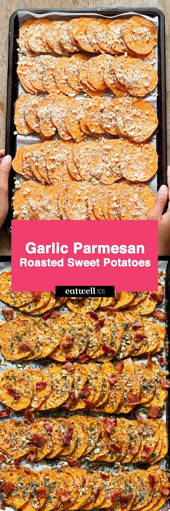These roasted sweet potatoes are definitely on the savory side and you're going to love them! Tossed with a mix of parmesan, butter, Italian herbs, and fresh cracked pepper, they're top…