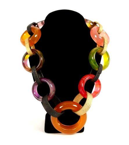 YVES-SAINT-LAURENT-Vintage-Bakelite-amp-Metal-Chain-Ring-Necklace