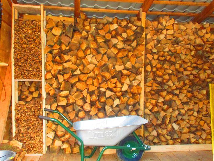 Kleinholz mit einem Regal in das Brennholz integrieren! Unterteilt, damit frisches separat gelagert ist zum Trocknen.