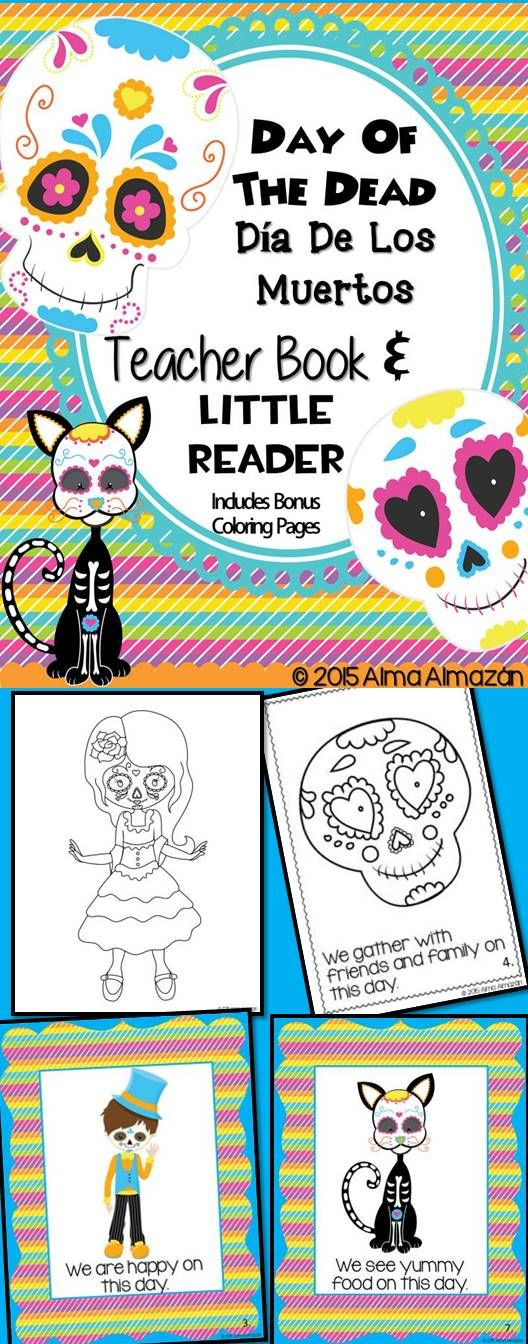 Day of the Dead / Dia De Los Muertos Teacher Book and Little Reader  This download consists of a very simple yet very adorable teacher big book and student little reader to teach about the Day of the Dead to small children. I also included some bonus coloring pages just for fun. You can open up the preview to get a free coloring page sample and to see exactly what the book looks like.  Hope you like it! Created by Alma Almazan