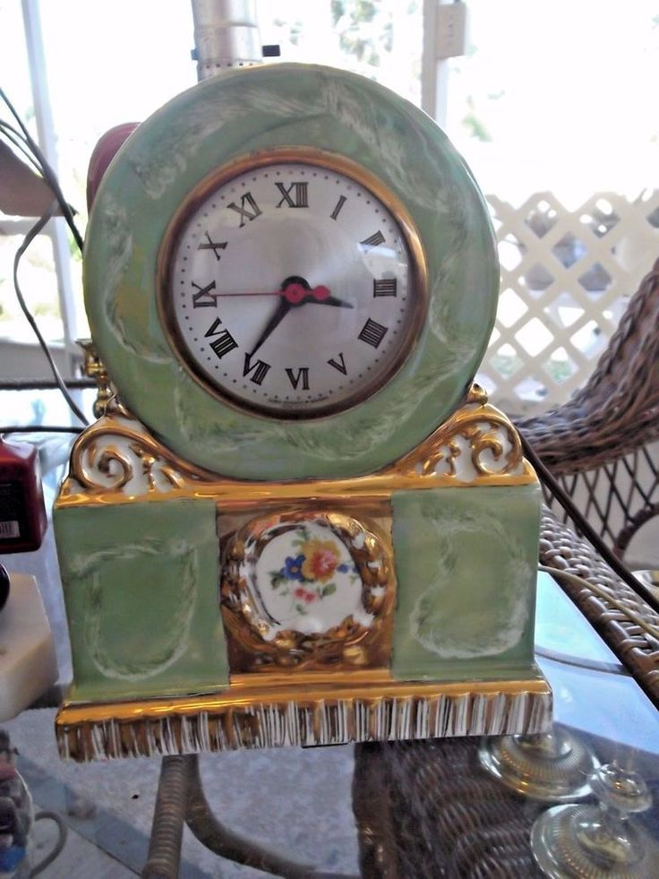 "VINTAGE SESSIONS PORCELAIN MANTLE CLOCK  movement by Sessions.  LOOK!! VGC 10"" T 