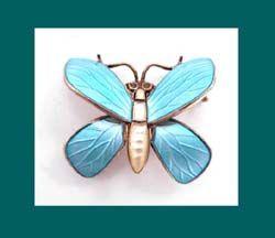 Einar Modahl Sterling Enamel Butterfly Pin