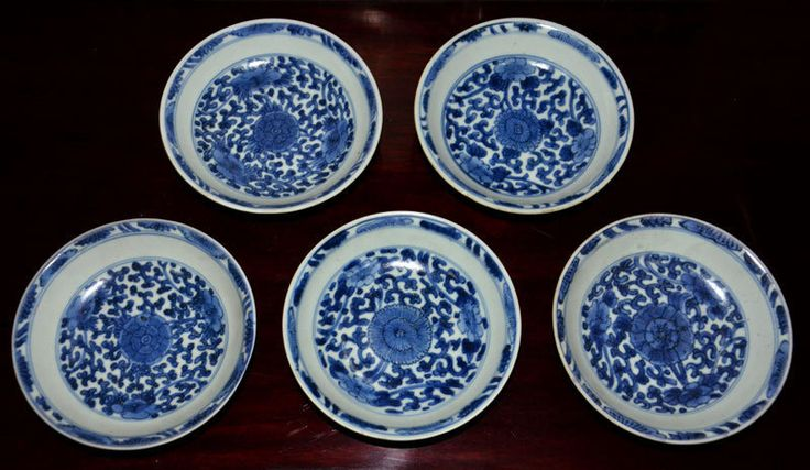 5 pcs Kangxi Blue and White Small Floral Dishes