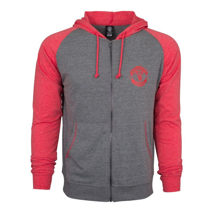 Manchester United Hoodie Fz Summer Light Zip up Jacket Grey-red Youth Kids #Rhinox #ManchesterUnited