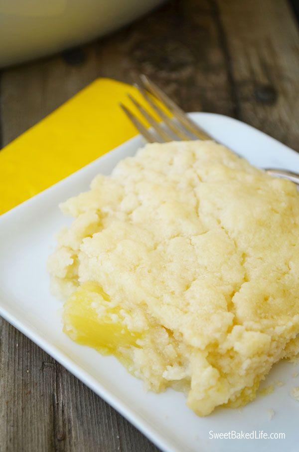 3 ingredient Pineapple Dump Cake   Sweet Baked LIfe