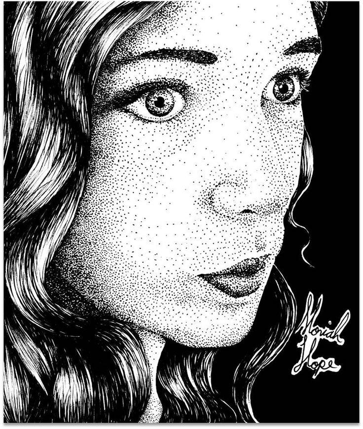 """""""Selfie"""" By Moriah Hope Pen & Ink"""