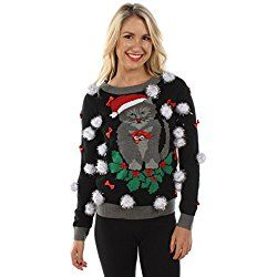 Women's Ugly Christmas Sweater - Cat Sweater with Bells by Tipsy Elves Size XS