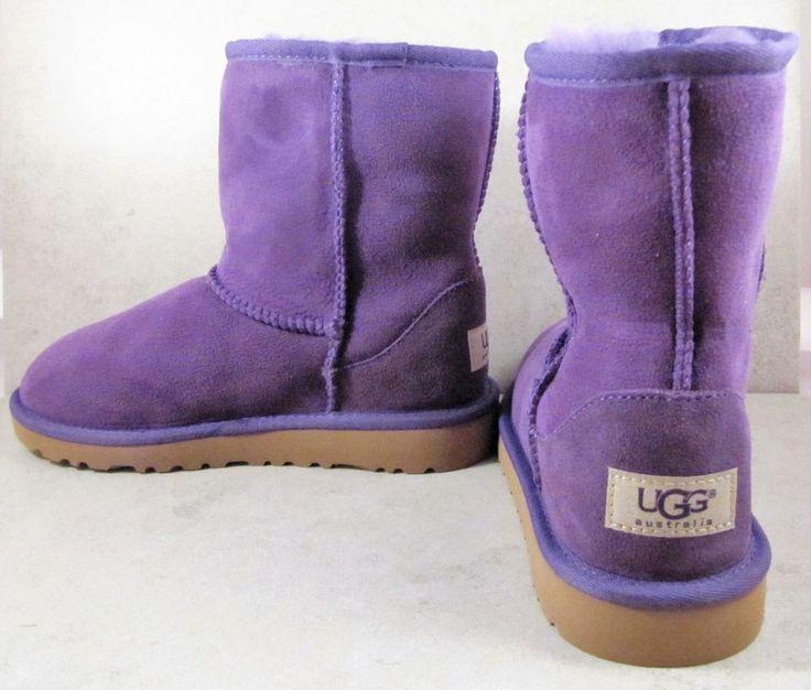 NEW UGG AUSTRALIA CLASSIC SHORT IN PURPLE S/N 5251 KID'S UGG BOOTS SIZE 2 RARE #UGGAustralia #Boots