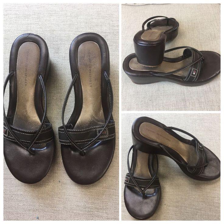 Tommy Hilfiger Womens 6 M Sandals 2.5 Wedge Brown Flip Flop Slide | Z #TommyHilfiger #FlipFlops